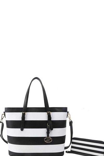 2in1 modern striped shopper bag with matching wallet-id.cc37639