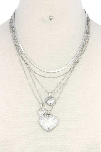Heart charm layered metal necklace-id.cc37652