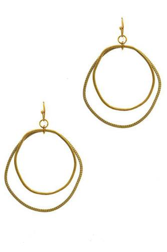 Chic designer double hoop drop earring-id.cc37656