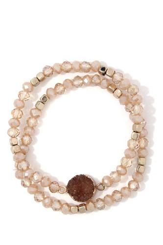 Faux druzy stone beaded stretch bracelet-id.cc37665