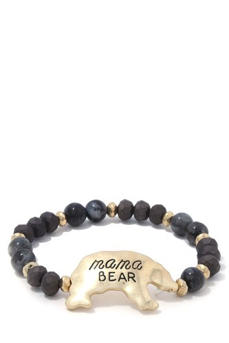 Mama bear beaded stretch bracelet -id.cc37673