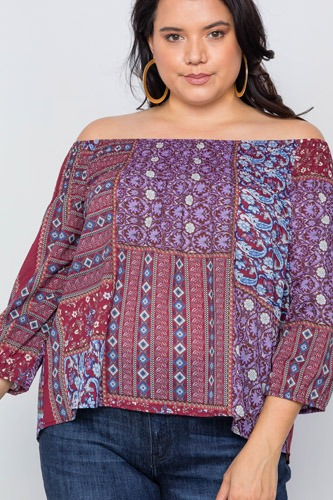 Plus size off-the-shoulder multi print top-id.cc37689