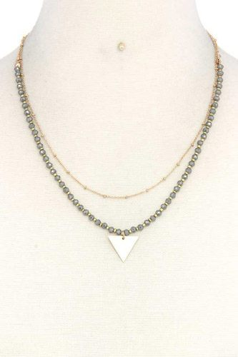 Metal triangle charm layered necklace-id.cc37720