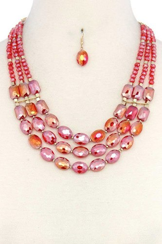 Oval bead multi strand necklace-id.cc37724