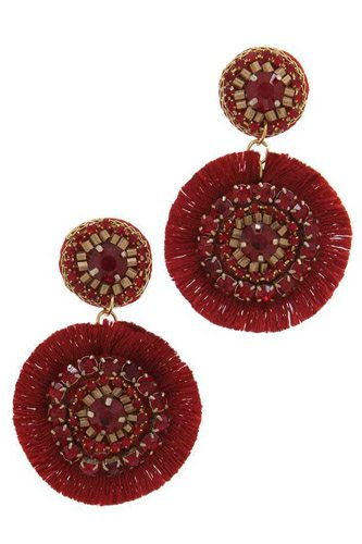 Double circle tassel post drop earring-id.cc37725