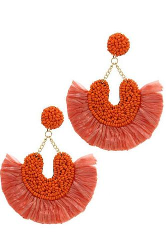 Beaded fan tassel dangle drop earring-id.cc37731