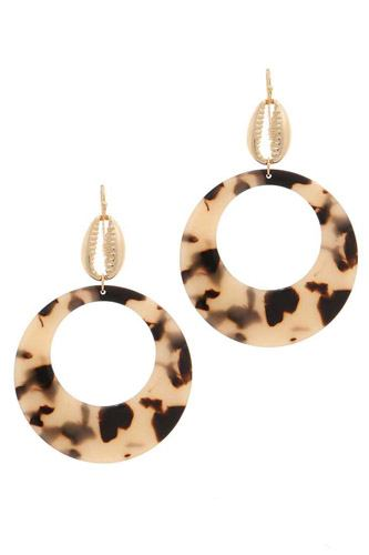 Acetate circle cowrie seashell charm drop earring-id.cc37732