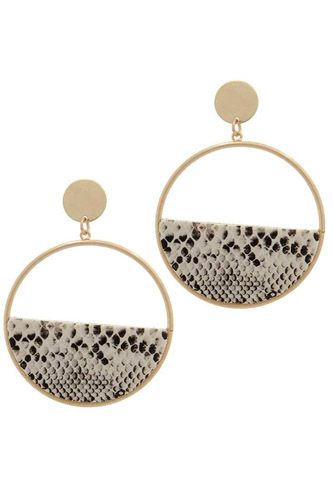 Half animal print metal post drop earring-id.cc37734