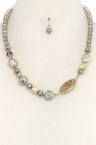 Oval stone beaded necklace-id.cc37746