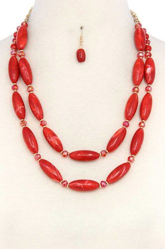 Oval bead layered necklace-id.cc37748
