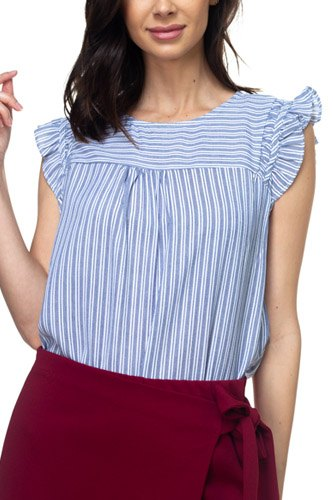 Ruffle sleeve stripe top-id.cc37767