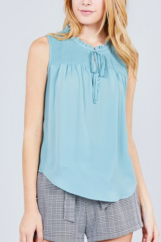 29d42ce4575881 Sleeveless ruffle neck w self tie smocked yoke detail front button woven top -id