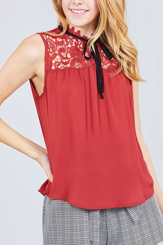 Sleeveless contrast tie w/lace wool dobby woven top-id.cc37774a
