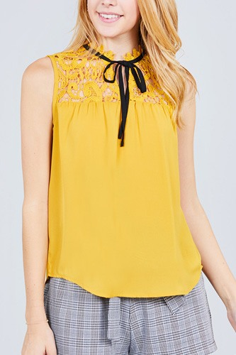 Sleeveless contrast tie w/lace wool dobby woven top-id.cc37774c