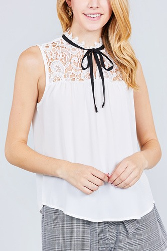 Sleeveless contrast tie w/lace wool dobby woven top-id.cc37774d