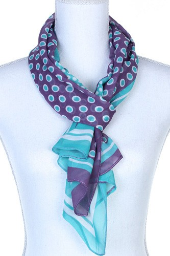 Polka dots pattern sheer oblong scarf-id.cc37779