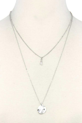 Hammered circle charm layered necklace-id.cc37786
