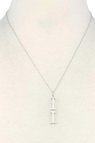 Metal rectangular shape pendant necklace-id.cc37789