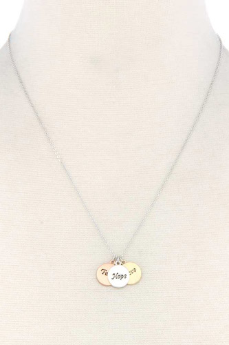 Round quoted metal charm necklace-id.cc37791