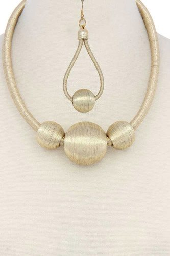 Metallic thread wrapped bead necklace-id.cc37793
