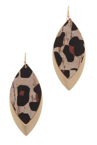 Animal print pointed oval drop earring-id.cc37798