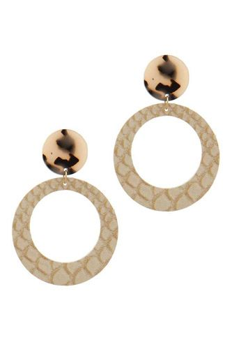 Acetate circle animal pattern post drop earring-id.cc37804