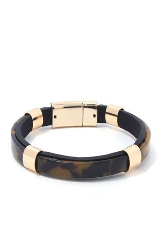 Acetate bar pu leather magnetic bracelet-id.cc37807