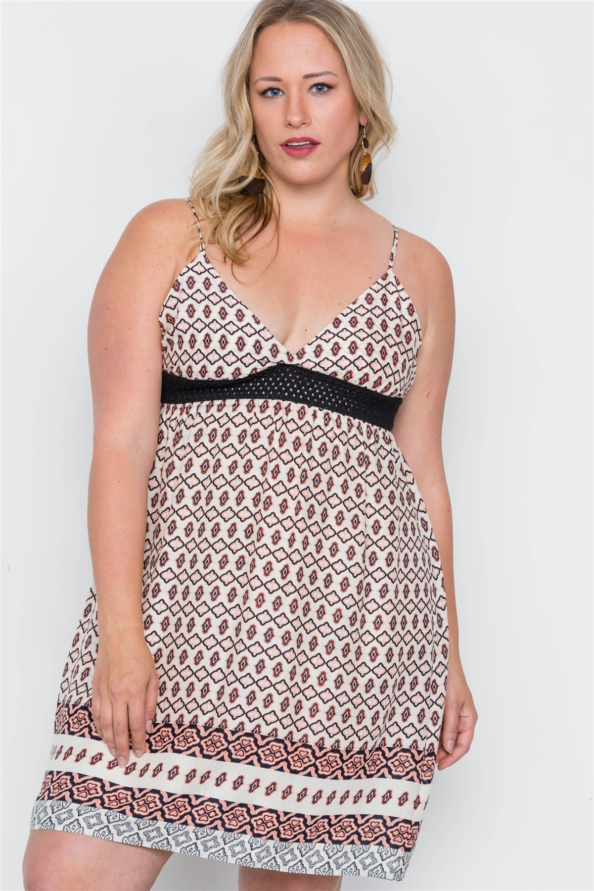 Plus size peach paisley print cami slip on mini dress-id.cc37829