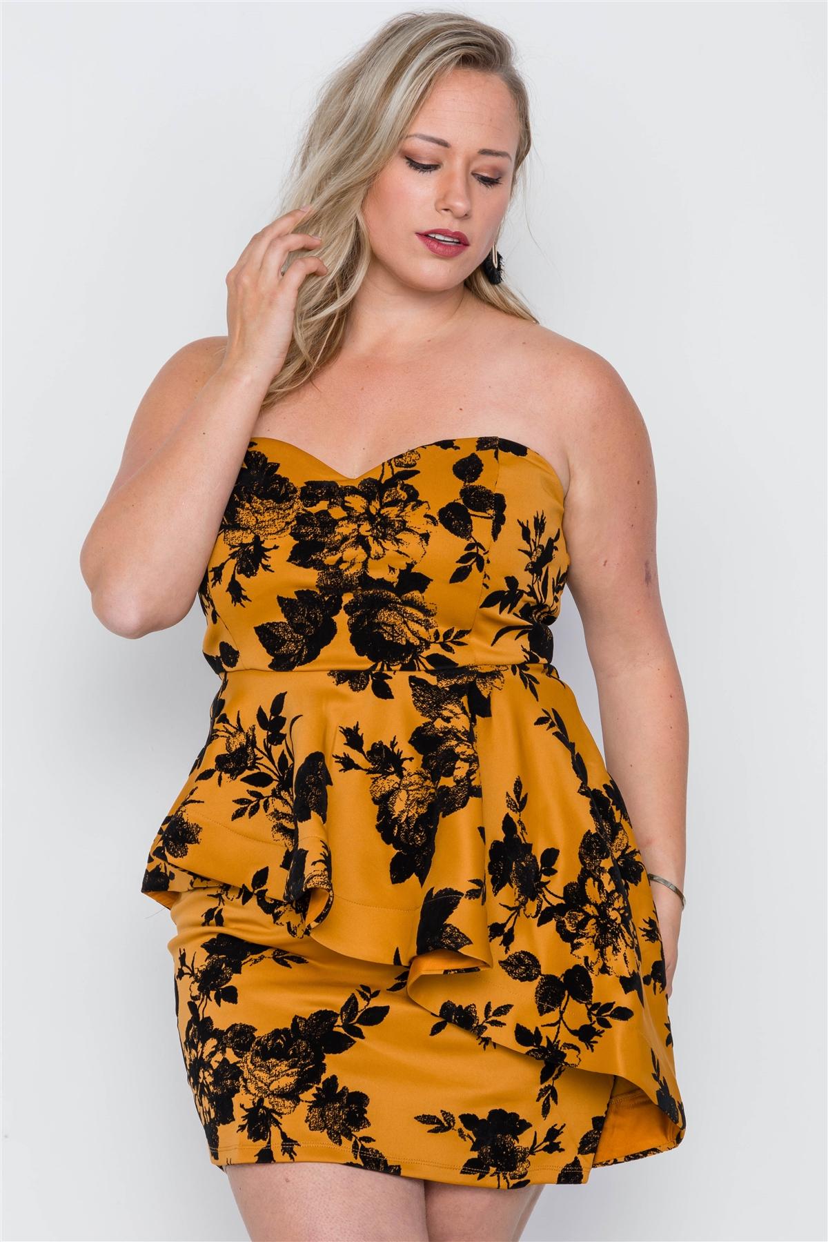Plus size strapless floral sweetheart mini dress-id.cc37833a