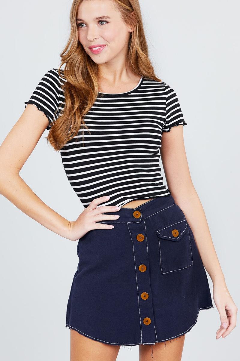 980c5cf3516c45 Short sleeve round neck lettuce hem stripe jersey cotton spandex top ...