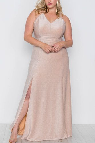 Plus size nude front slits cami evening maxi dress-id.cc37831