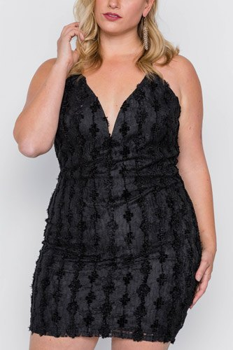 Plus size black floral lace bodycon cami mini dress-id.cc37832