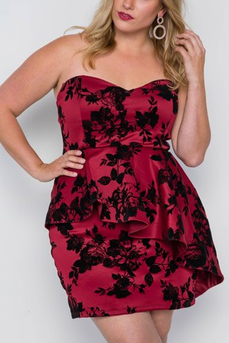 Plus size strapless floral sweetheart mini dress-id.cc37833