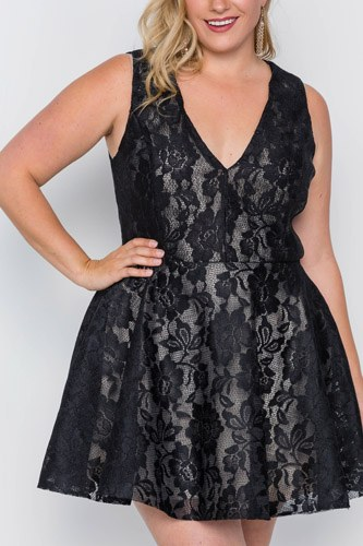 Plus size black floral lace mini skater dress-id.cc37834