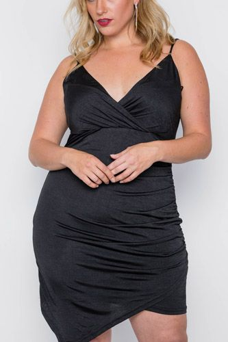 Plus size black cami surplice bodycon mini dress-id.cc37835