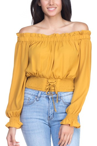 Smock bottom ruffle off shoulder shirt-id.cc37837c