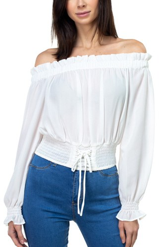 Smock bottom ruffle off shoulder shirt-id.cc37837d