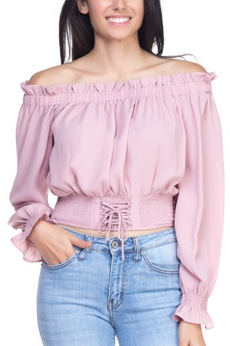 Smock bottom ruffle off shoulder shirt-id.cc37837e