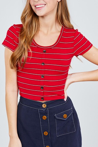 Short sleeve round neck button down stripe rayon poly spandex rib top-id.cc37842b