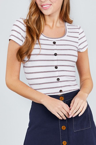 Short sleeve round neck button down stripe rayon poly spandex rib top-id.cc37842c