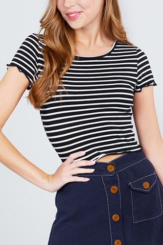 Short sleeve round neck lettuce hem stripe jersey cotton spandex top-id.cc37843