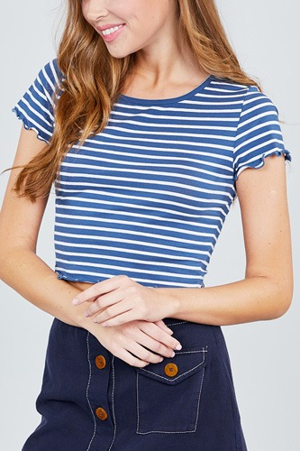 Short sleeve round neck lettuce hem stripe jersey cotton spandex top-id.cc37843a