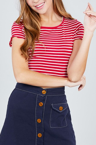 Short sleeve round neck lettuce hem stripe jersey cotton spandex top-id.cc37843e