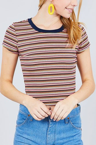Short sleeve crew neck multi stripe rib top-id.cc37845a