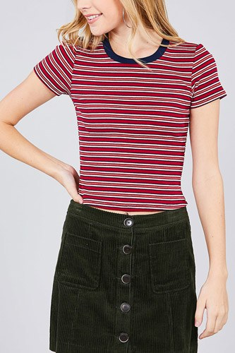 Short sleeve crew neck multi stripe rib top-id.cc37845c