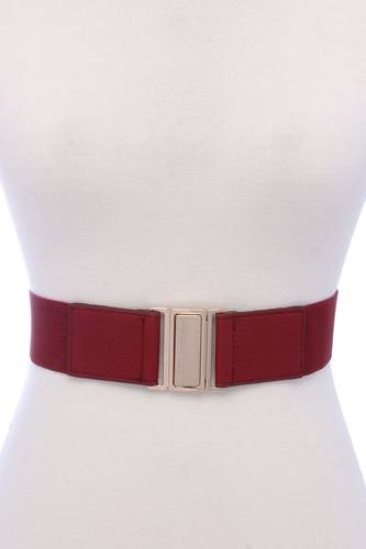 Metal buckle pu leather elastic belt-id.cc37850