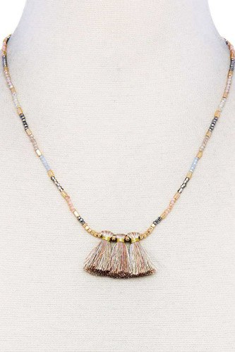 Modern triple tassel beaded necklace-id.cc37866
