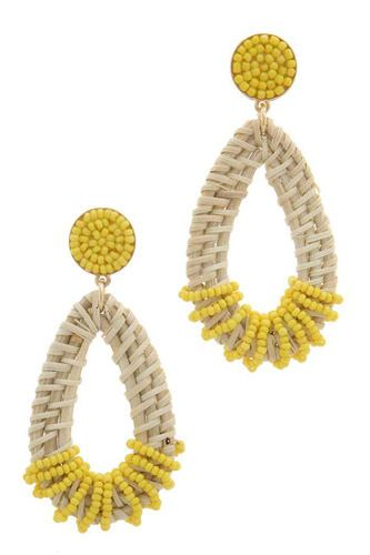 Beaded teardrop shape post drop earring-id.cc37867