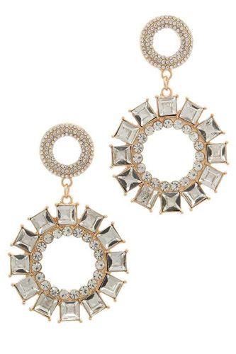 Rhinestone double circle link post drop earring-id.cc37870