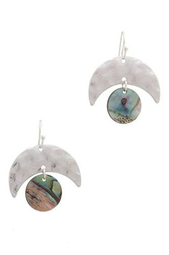 Hammered metal abalone circle drop earring-id.cc37876